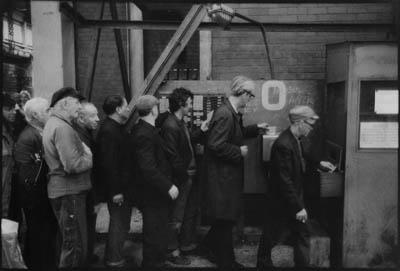 Clocking Off After Shift; Scott Lithgow Kingston Shipbuilding Yard, Port Glasgow.