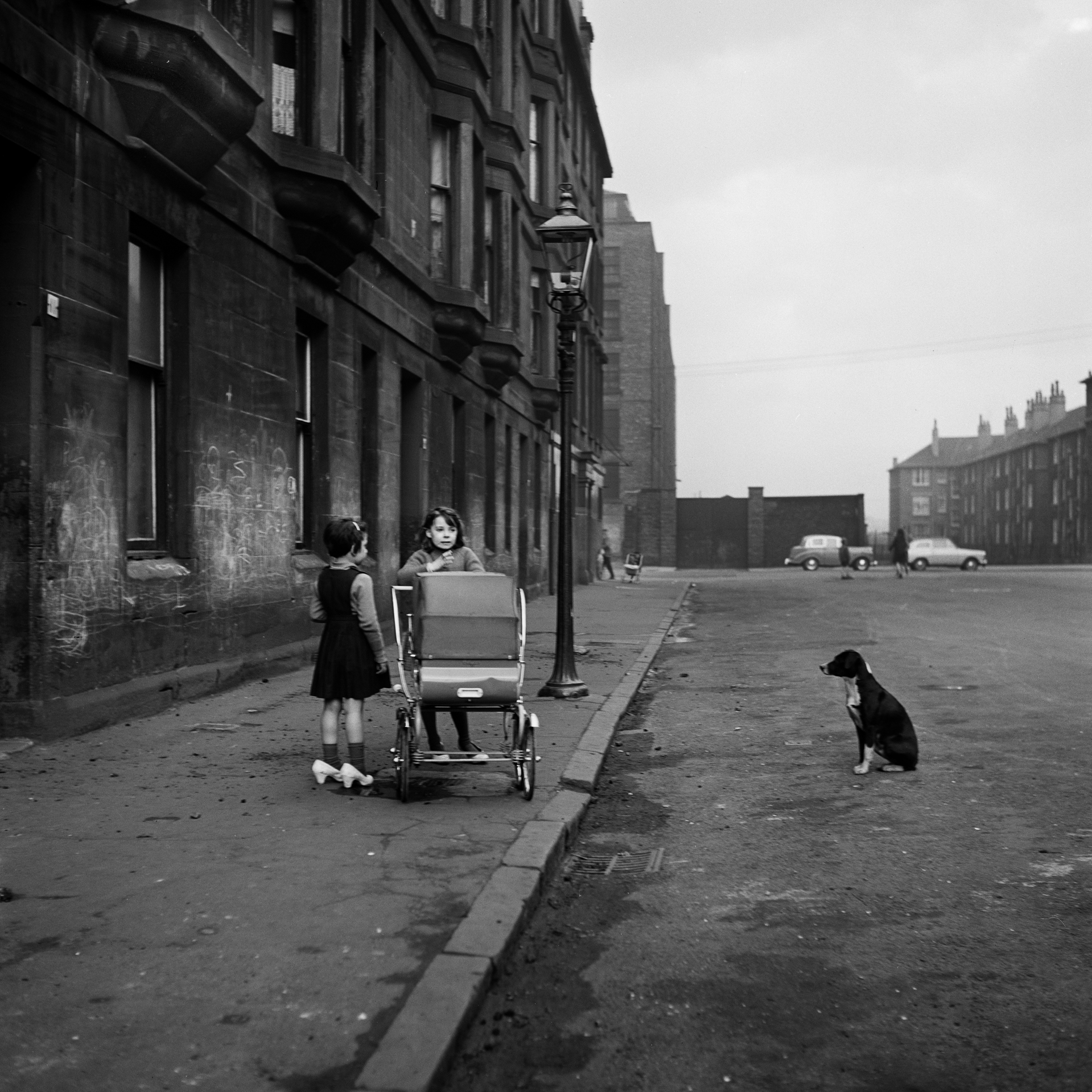 Image of Girls and Dog, Gorbals (1963) by Oscar Marzaroli