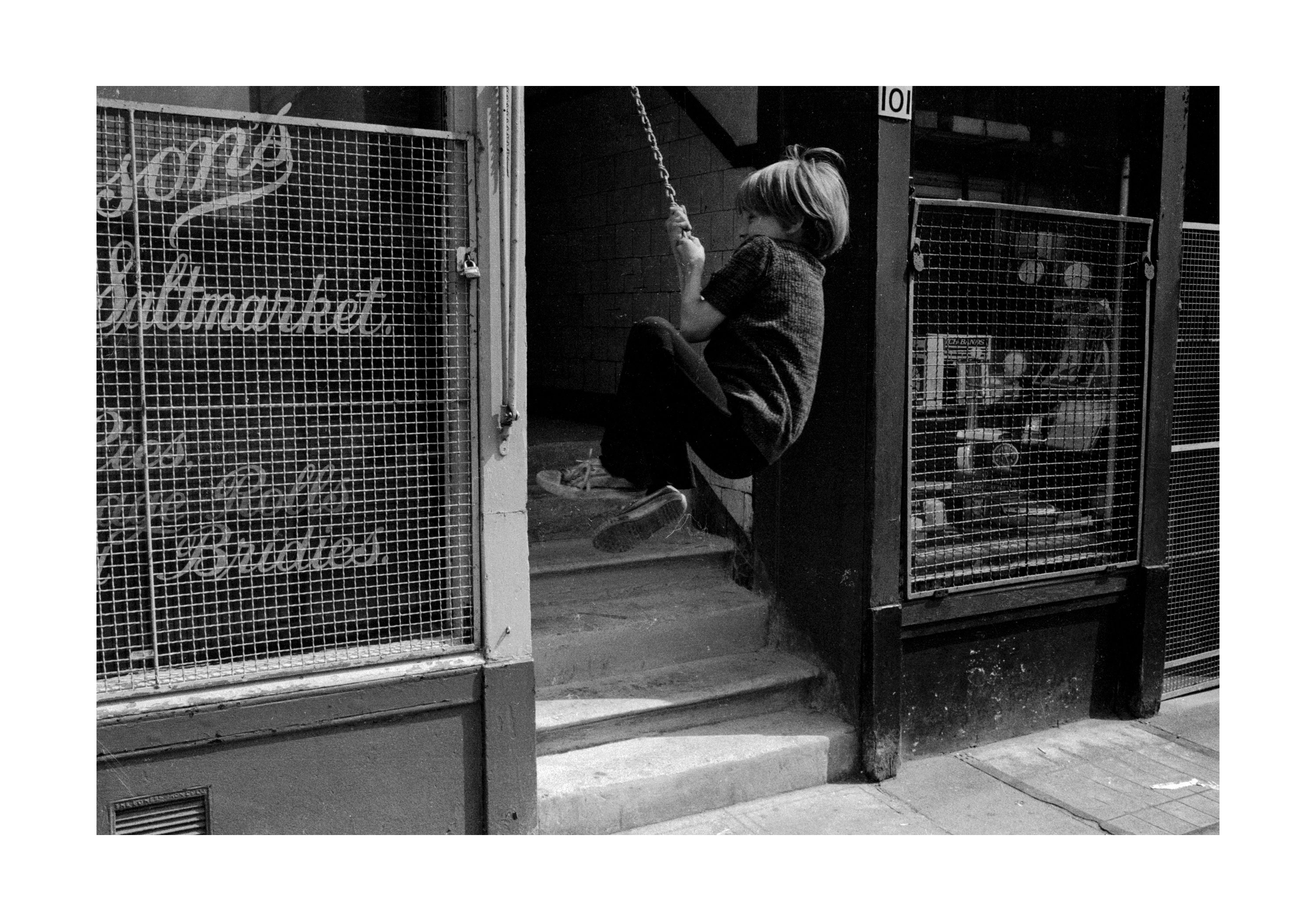 Image of Untitled, from 'Glasgow 1974' (Kid on rope, Saltmarket) by Hugh Hood
