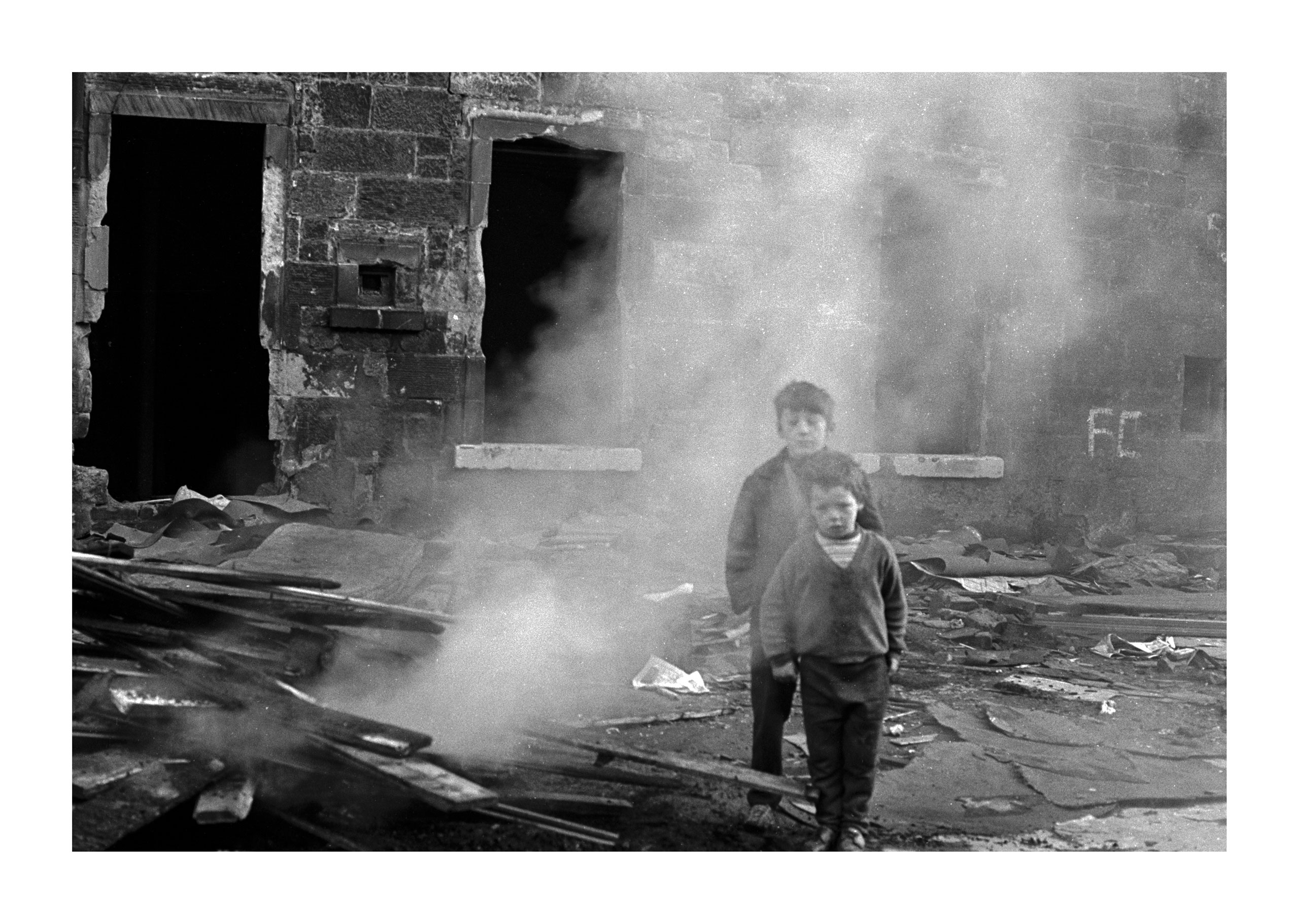 Image of  Untitled, from 'Glasgow 1974' (Two Young Boys in Smoke) by Hugh Hood