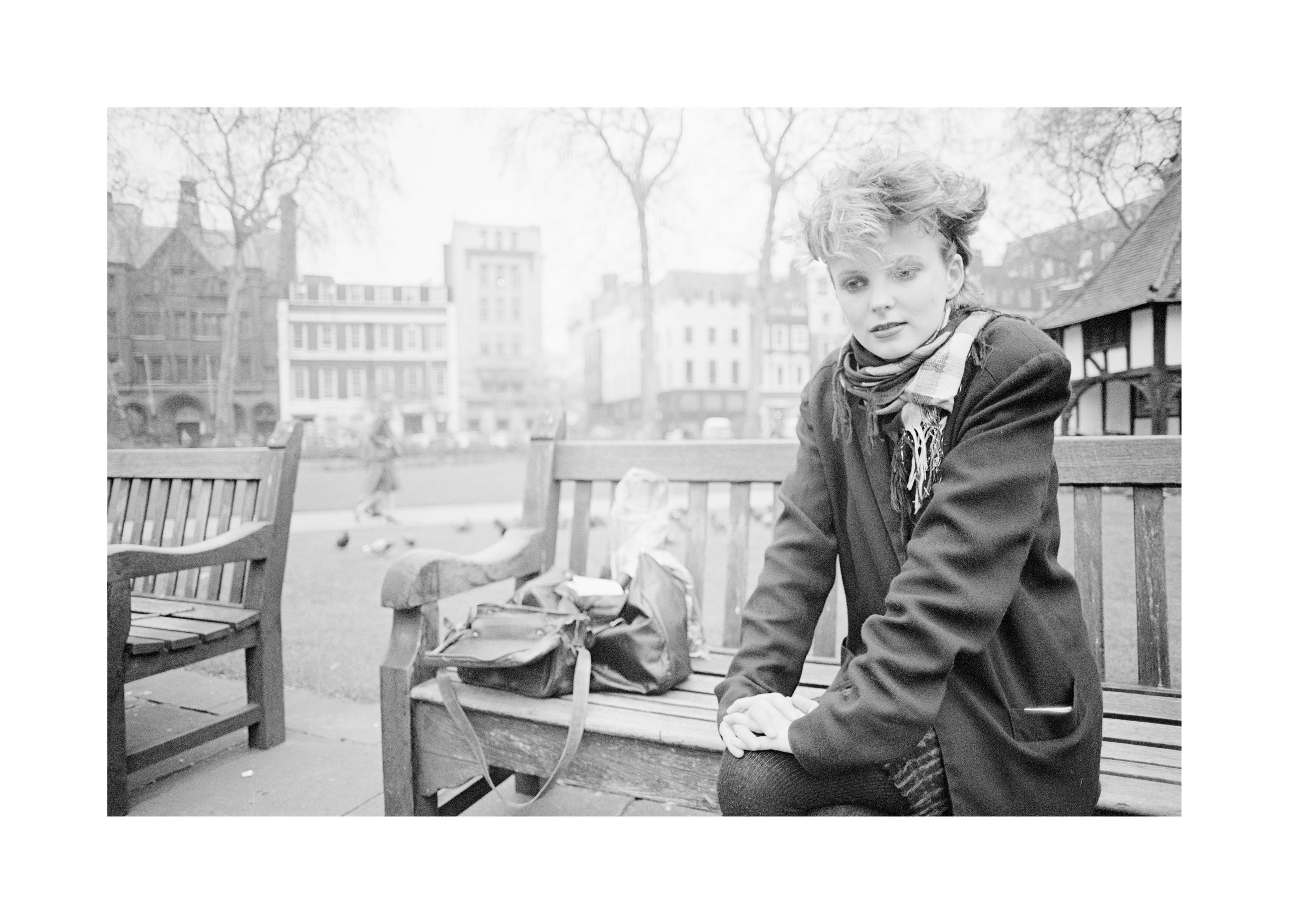 Image of Clare Grogan (on bench) by Harry Papadopoulos